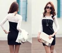 New 2014  Casual Dress Women   Lace Sleeve  Dress XL dg1017-1