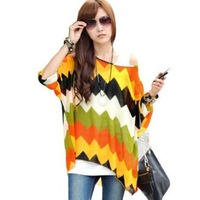 One Size Fits M-L Size Bohemian Hippie Big Size Batwing Sleeve Chiffon Blouse Loose Off Shoulder Shirt 006 Free shipping