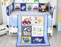 hot sell 2014 New Blue Cars Airplan Boy Baby Crib Cot Bedding Set 3 items Including Comforter Bumper Fitted Sheet