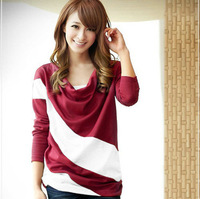 New 2014   Striped t shirts Pullover Women t-shirt Blouse Women Blouse t shirt  dg989-1