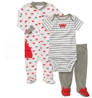 Brand Carter's Baby boy's cotton 3-piece crab bodysuit jumpsuit & pant set