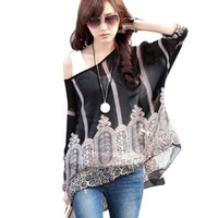 One Size Fits M-L Size Bohemian Hippie Big Size Batwing Sleeve Chiffon Blouse Loose Off Shoulder Shirt 005 Free shipping