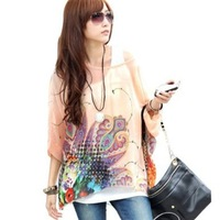 One Size Fits M-L Size Bohemian Hippie Big Size Batwing Sleeve Chiffon Blouse Loose Off Shoulder Shirt 010 Free shipping