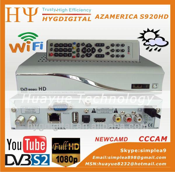 Приемник спутникового телевидения AZAMERICA S920HD dvb/s2 CCCAM NEWCAMD, WiFi 8PSK, openbox x 5 hd, openbox s10 приемник спутникового телевидения 2 hd openbox z5 youtube youporn