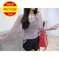 Fresh 2014 cutout pliableness translucent knitted sweater multi color