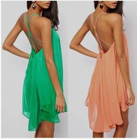 New Sexy Back Thin Straps Cross Hollow Solid Metal Buckle Sleeveless Chiffon Dresses 856