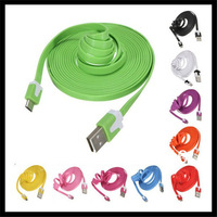 1000pcs/lot Multi color 1M 10ft Flat noodle data micro usb charger cable for galaxy S2 S3 S4 for nokia for Huawei