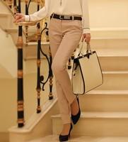 2014 Autumn New Women's Casual Trousers Formal Work Suit Pants Ladies Harem Skinny Pants Female Plus Size Solid Khaki Long Pant