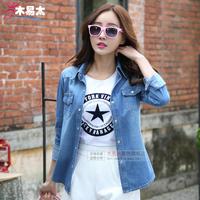 2014 Spring Women Jeans Long Sleeve Blouse & Shirt Clothing Outerwear Top Tee-shirts Camisa Jeans Feminina S M L XL XXL