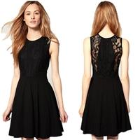 Lace one-piece dress hot-selling 2014 hepburn sweet slim waist one-piece dress female  black the whole network