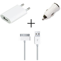 3 in 1 usb wall charger + car charger adapter + 30 pin data cable for apple iphone 4 4s ipad 2 3 ipod free shipping