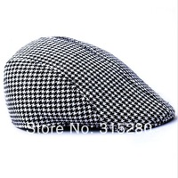 Women and men winter popular casual wool felt houndstooth plaid beret hats
