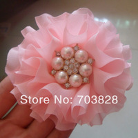 Free shipping handmade baby girls hair Ballerina Flower with pearl and rhinestone center Chiffon flowers for headbands