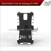 2014 Popular Hybrid Robot 2 in 1 Kickstand Combo Silicon TPU+ PC rubber Cover Case for Samsung Galaxy S5 I9600 DHL Free Shipping