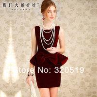 new 2014 pink doll spring bowknot velvet dress one-piece dress dabuwawa brand new authentic S3NVH