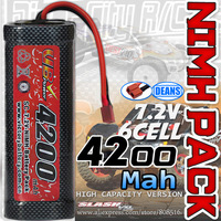 Brand New A+ class 6 cell  7.2V 4200mah NIMH Flat battery pack with Deans connector rechargeable rc battery for 1/8 1/10 RC cars