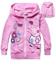 New 2014 Nova baby clothing outwear 100% cotton baby girls kids jackets coats outwear peppa pig Children Hoodies