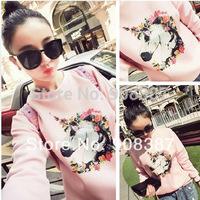 2014 new spring women's pink horse head cotton active wear o-neck print pullover korean style women crewneck sweatshirt 121