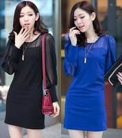 Goose long-sleeve dress lantern sleeve patchwork super soft cotton close-fitting short skirt chiffon one-piece dress VZY065
