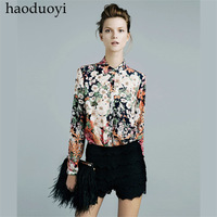 2014 Fashion blouse women vintage silky flowers women's long-sleeve shirt haoduoyi,long sleeve shirt women,free shipping