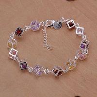 H220 925 sterling silver bracelet, 925 sterling silver fashion jewelry Colored Stone Bracelet /dapalrwa ebnamsua