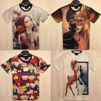 (Alice)2014 fashion 3d tshirt women character/cartoon/building both side printed 3D cotton t-shirt 21models size M-XXL free