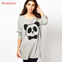 New 2014 fashion normic richcoco print long-sleeve o-neck loose medium-long t-shirt basic shirts shirt,free shipping