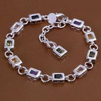 H261 925 sterling silver bracelet, 925 sterling silver fashion jewelry Square color stone bracelet /dbtaltaa ecramtya