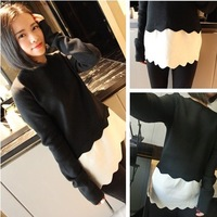 2014 Lissa  black-and-white patchwork pullover long-sleeve slim sweater female 434