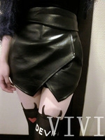 2014 Vivi fashion van irregular sexy high waist culottes short skirt fashion leather culottes 816