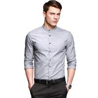 2014 New Men's Slim Fit Shirt cotton casual Mandarin collar shirts Solid Men Blue Gray M L XL XXL FC13580
