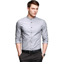 2014 New Men's cotton casual Mandarin collar shirts Solid slim fit business shirt men Blue Gray M L XL XXL Free shipping FC13580