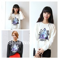 2014 New Spring Fashion European AmericanTriangle Print galaxy Long Sleeve loose Pullover Sweatershirt Woman free shipping