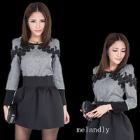 New 2014 spring Winter Dress Long Sleeve Black Grey Twinset ,Women Evening party Embroidery Linen BLOUSE Top Short Skirt