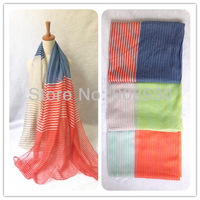 2014 new women striped scarves printed hijab shawl nice simple design easy match clothes Free shipping