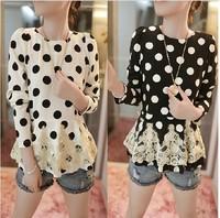 2014 Spring New Lace Blouse Stitching Slim Was Thin Long-Sleeved Chiffon Shirt Plus Size