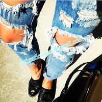 New High Waist Dark Denim Destroyed Skinny Jeans Big Hole Pants S M L