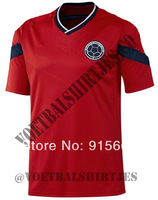 Top thai quality 2014 Colombia soccer jersey away red,Free Shipping Colombia Sports clothing Football shirts red