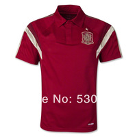 Top Thai Quality 2014 World Cup Spain training polo red, Spanish soccer training sports clothing men athletic shirt free ship