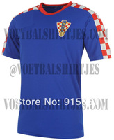 Free ship Best thai quality 2014 world cup Croatia away soccer jersey away blue Uniform
