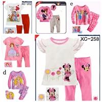 6sets/lot Baby Pajamas Boys Sleepwear 2PC Longsleeve girl Mickey  Sofia T-Shirt+Long Pants For 2-7years Children Baby Sets New