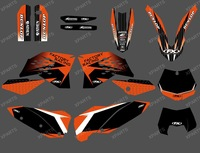 0300 FACTORY TEAM GRAPHICS WITH BACKGROUNDS FOR KTM 2007-2010 SX SXF FULL SIZE MODELS AND 2008-2011 EXC XC FULL SIZE MODELS