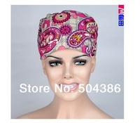 Matin long hair scrub hats for female doctors and nurses 100% cotton print  fibre free shipping