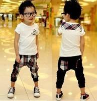 2014 Summer England Style Pure cotton Children Clothes Kids Set White t shirt+cell Harem pants 2pcs boys suit 1set Retail