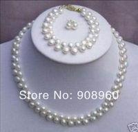 Hot Sale Beautiful White Pearl Necklace Bracelet Earring set  fashion jewelry