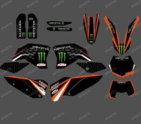 0310 POWERBLACK TEAM GRAPHICS WITH BACKGROUNDS FOR KTM 2007-2010 SX SXF FULL SIZE MODELS AND 2008-2011 EXC XC FULL SIZE MODELS