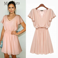 Womens Butterfly sleeve Dress 2014 New Fashion Summer Pink Solid V Neck Cute Dresses for Women Ladies Free Shipping