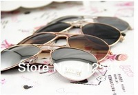 Free shipping 2013 Reflective Sunglasses Unisex Retro for Women Gold metal Rim Glasses Sports for Men #5322