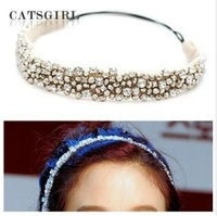 2014 NEW fashion Rhinestone beads and   lace design   elastic hairband headband  Retail  hair accessory  1 pcs