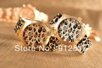 5pcs/lot Women's Geneva Leopard watch gold color Silicone Wristwatches  Ladies dress watch dropship digital time Sport Watch